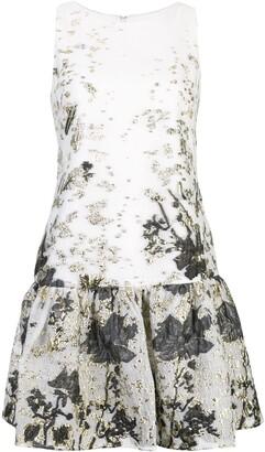 Marchesa Notte Jaquard Ruffled Hem Dress