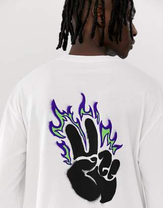 Globe Alight long sleeve t-shirt with chest and back print in white