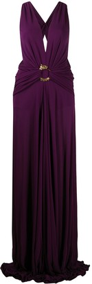 Roberto Cavalli Plunge-Neck Evening Gown