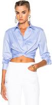 Alexander Wang Cotton Twill Twist Front Long Sleeve Shirt