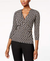 Charter Club Petite Faux-Wrap Top, Created for Macy's
