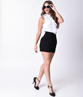 Moon Collection Retro Style Black & White Sleeveless Ruffle Romper