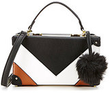 Gianni Bini V Color Block Box Cross-Body Bag with Faux-Fur Pom