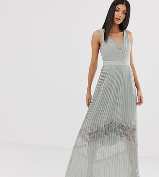Little Mistress Tall lace insert pleated maxi dress in waterlily