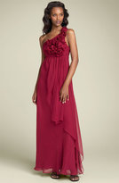 One Shoulder Chiffon Gown with Rosettes