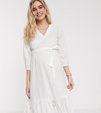 Mama Licious Mamalicious Maternity jersey smock dress with tiered hem in white