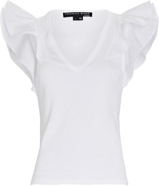 Veronica Beard Cathie Ruffled V-Neck T-Shirt