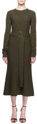 Victoria Beckham Jewel-Neck Long-Sleeve Belted A-Line Wool Midi Dress