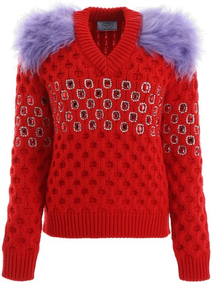 Prada Crystal Embellished Shoulder Patch Knit