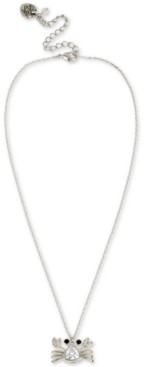 """Betsey Johnson Silver-Tone Crystal Crab Pendant Necklace, 16"""" + 3"""" extender"""