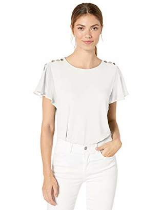 Calvin Klein Women's Flutter Sleeve TOP with Buttons