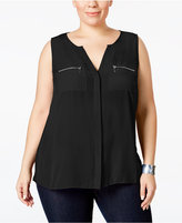 INC International Concepts Plus Size Split-Neck Zipper Blouse, Only at Macy's