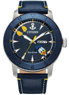 Citizen Eco-Drive Men's Donald Duck Blue Leather Strap Watch 44mm