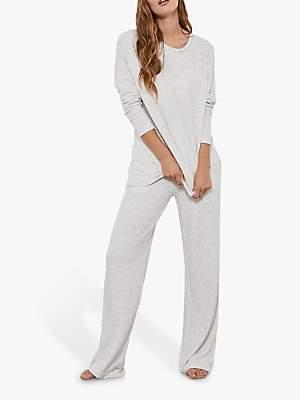 Mint Velvet Wide Leg Joggers, Grey/Multi