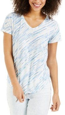 Style&Co. Style & Co Burnout Striped T-Shirt, Created for Macy's