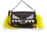 Fendi Micro Baguette fur-embellished cross-body bag