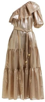 Lisa Marie Fernandez Arden Asymmetric Tiered Lame Midi Dress - Womens - Gold Multi
