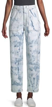 Rag & Bone Skater Ultra High-Rise Tie-Dye Straight Jeans