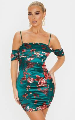 PrettyLittleThing Emerald Green Floral Print Satin Ruched Bust Cold Shoulder Bodycon Dress