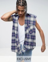 Reclaimed Vintage Inspired Oversized Sleeveless Shirt In Purple Checked Flannel With Raw Hem
