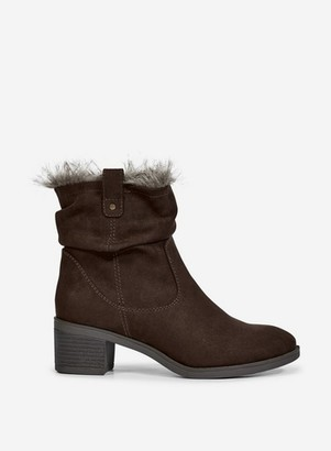 Dorothy Perkins Womens Chocolate 'Moscow' Faux Fur Lined Ankle Boots