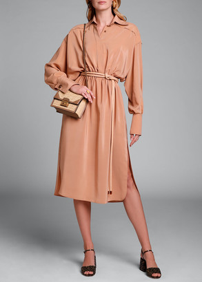 Fendi Long-Sleeve Button-Front Washed Crepe Dress