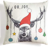 """Holiday Lane Deer With Ornaments 18"""" Square Decorative Pillow, Created for Macy's"""
