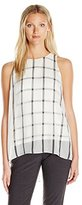Vince Camuto Women's Sleeveless Stripe Duet Blouse with Knit Underlay