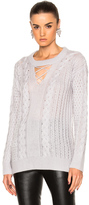 Prabal Gurung Cashmere Silk Knit V-Neck Fisherman Pullover in Gray.
