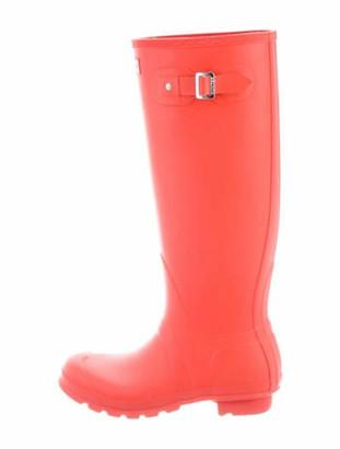 Hunter Leather Rain Boots Orange