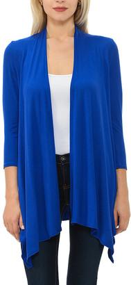Shamaim Women's Open Cardigans ROYAL - Royal Blue Three-Quarter Sleeve Open Cardigan - Women