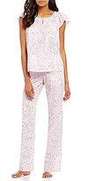 Cabernet Floral Vine Flutter-Sleeve Pajamas