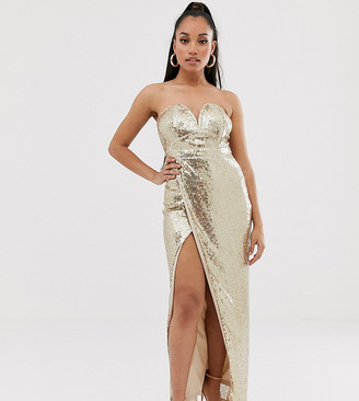 TFNC Petite bandeau sequin maxi dress with thigh split in gold