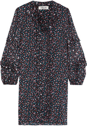 Diane von Furstenberg Amalie Fil Coupe Polka-dot Silk-blend Chiffon And Crepe De Chine Mini Dress