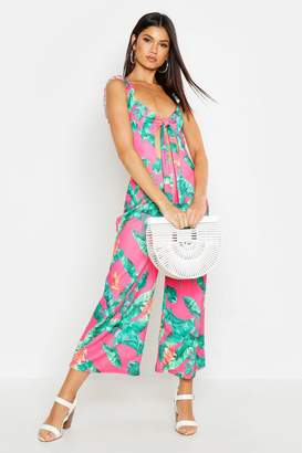 boohoo Knot Front Ruffle Strap Palm Print Jumpsuit
