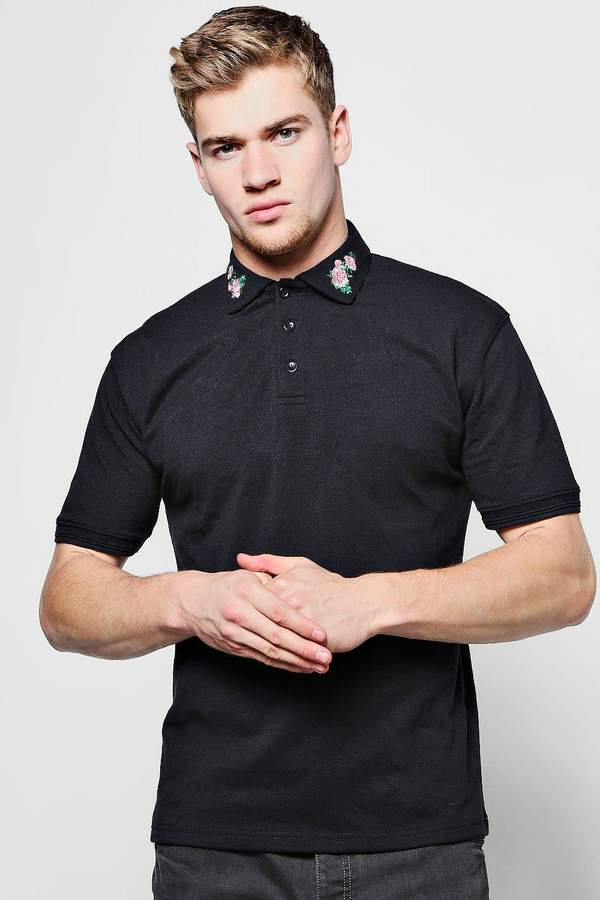 boohoo Floral Embroidered Collar Polo