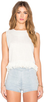 Lucca Couture Linen Shell Fringe Top