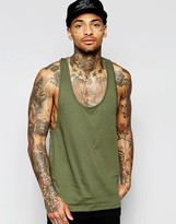 Asos Vest With Extreme Racer Back In Khaki