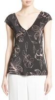 Diane von Furstenberg Women's Floral Faux Wrap Silk Blouse