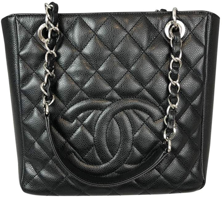 619ad802ac4f73 Chanel Black Leather Tote Bags - ShopStyle