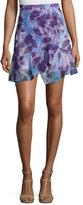 Carven Floral High-Waist Overlap Skirt, Multicolor