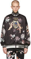 Dolce and Gabbana Black Floral Angels Zip-Up Jacket