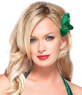 Leg Avenue Green Glitter Hair Bow - Set of Six