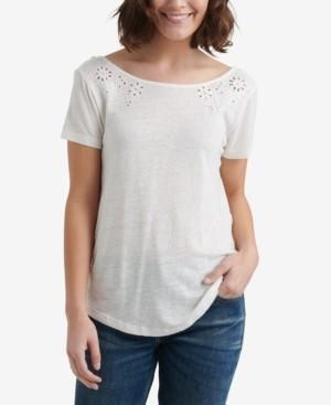 Lucky Brand Eyelet Scoop-Back T-Shirt