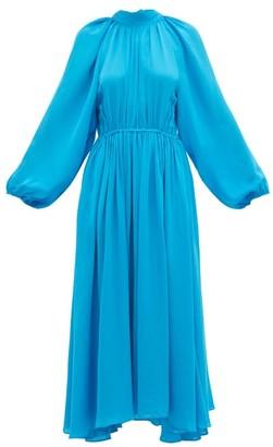 Rhode Resort Mai Gathered Open-back Crepe Midi Dress - Womens - Blue