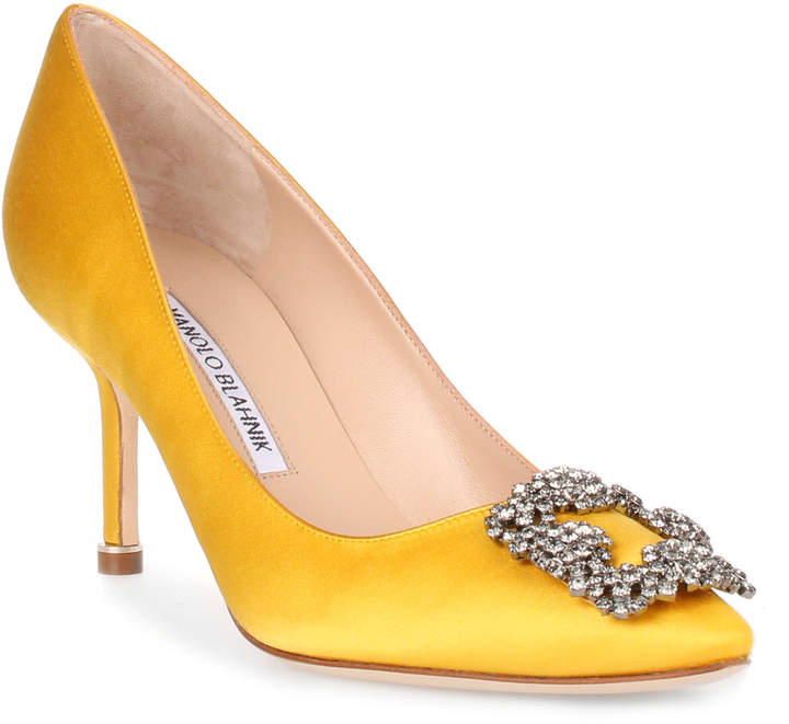 Manolo Blahnik Hangisi 70 yellow satin pump