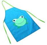 Cartoon Frog Pattern Kids Children Waterproof Painting Eating Apron Outwear Hot (Blue)