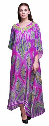 Phagun Damask Ladies Kaftan Holiday Loungewear Maxi Dress Beach Coverup-4X-5X Fuschia Pink