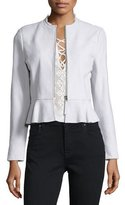 Rebecca Taylor Lambskin Leather Peplum Jacket, Pale Glacier