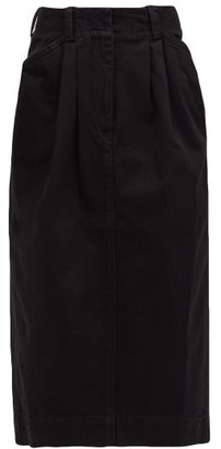 Lemaire High-rise Pleated-front Denim Midi Skirt - Black